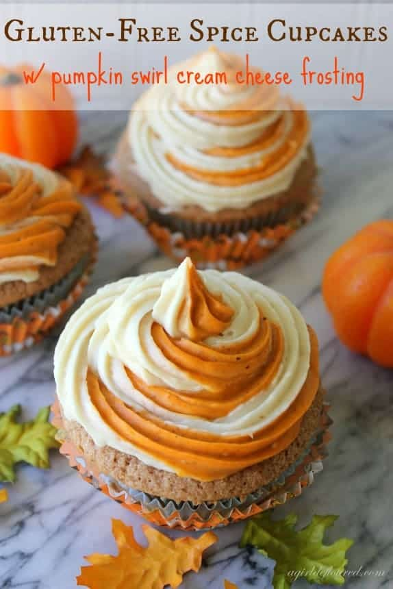 Gluten Free Spice Cupcakes With Pumpkin Swirl Frosting