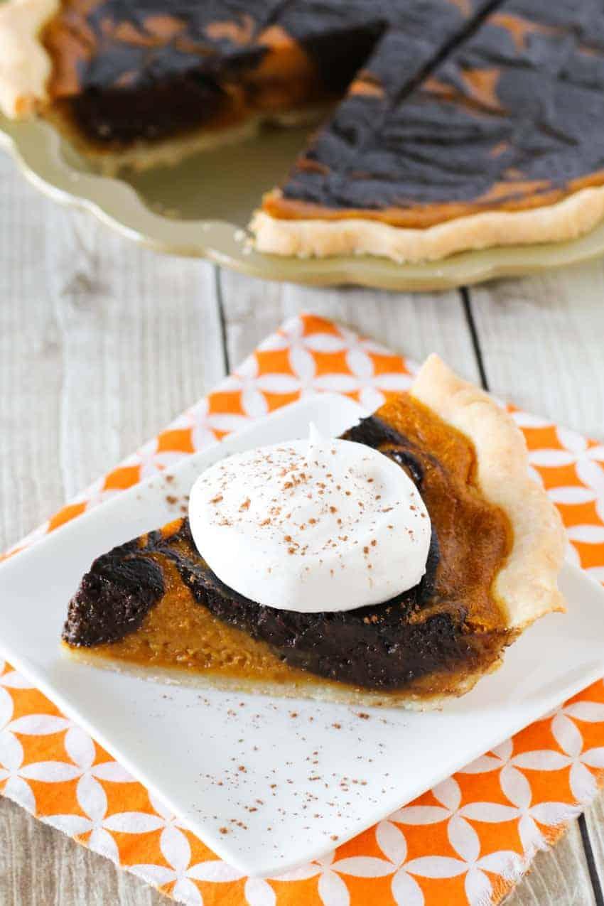 Sarah's Chocolate Swirled Pumpkin Pie - G-Free Foodie