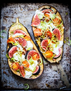 Baked Eggplant with California Figs and Leeks recipe
