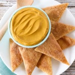 pumpkin cheesecake dip and pie crust chips