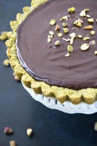 gluten free chocolate tart with pistachio nut crust
