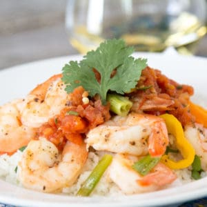 easy oven roasted shrimp with sweet peppers