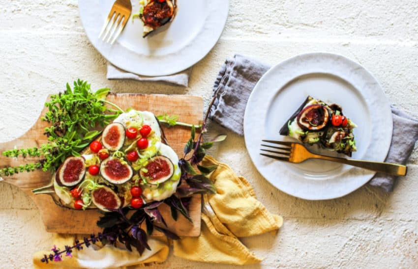 how to make baked eggplant with figs and leeks