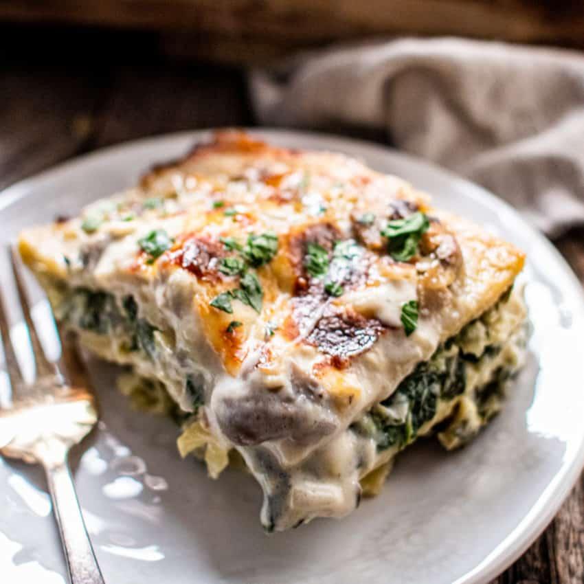 White Lasagna with Mushrooms, Spinach and Artichokes recipe