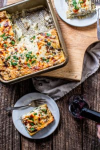 Gluten-Free White Vegetable Lasagna with Mushrooms, Spinach and Artichokes