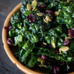 Kale Salad with Cranberries and Pumpkin Seeds