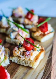 Pimento Cheese on Toasted Bread Squares