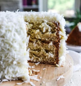 gluten free coconut layer cake cream cheese frosting