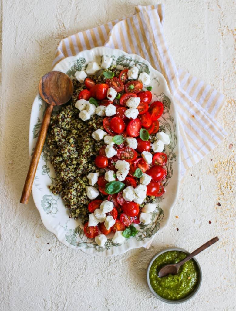 Caprese Pesto Quinoa salad recipe