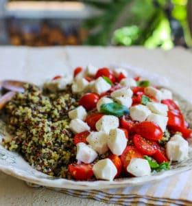 Pesto Quinoa with Tomatoes and Fresh Mozzarella recipe