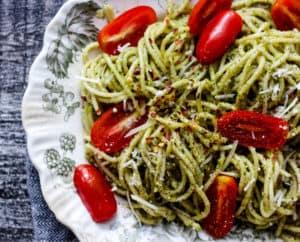 Simple Walnut Pesto on pasta