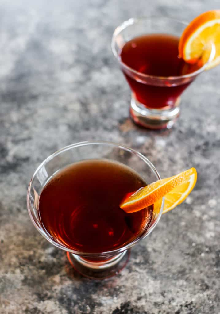 top down pomegranate juice cocktail