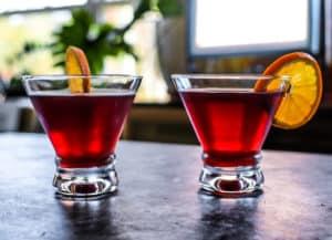 pomegranate martini with fresh juice and vodka
