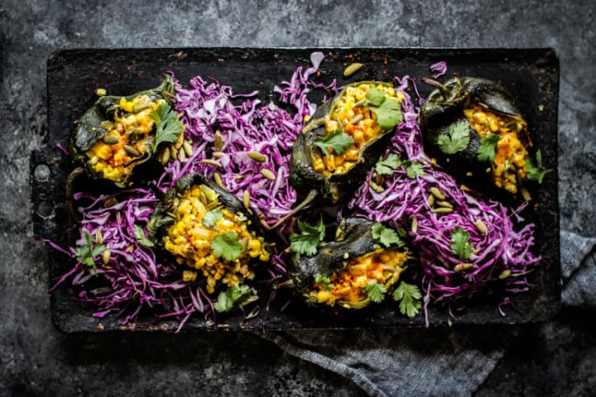 gluten-free vegan Stuffed Poblano Peppers recipe