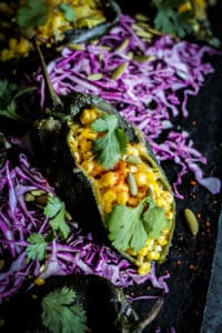 how to make Roasted Corn Stuffed Poblano Peppers recipe